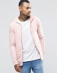 Легкое трикотажное худи на молнии ASOS - Розовая пыль
