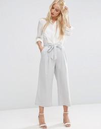 Льняная юбка-шорты с завязкой на талии ASOS - Серебряный