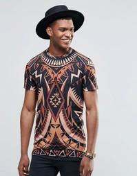 Удлиненная футболка с принтом Jaded London - Черный