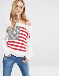 Трикотажный джемпер с открытыми плечами Hollister Americana