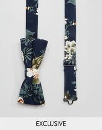 Темно-синий галстук-бабочка с цветочным принтом Reclaimed Vintage