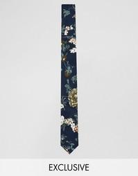 Темно-синий галстук с цветочным принтом Reclaimed Vintage