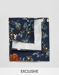 Темно-синий платок-паше с цветочным принтом Reclaimed Vintage