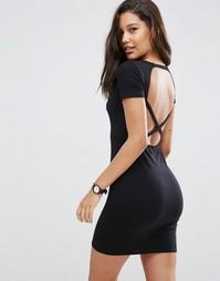 Облегающее платье с перекрестными бретелями сзади ASOS - Черный