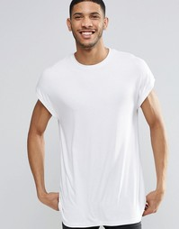 Oversize-футболка в рубчик с короткими рукавами ASOS - Белый