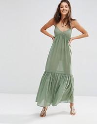 Ярусное пляжное платье макси ASOS - Зеленый хаки
