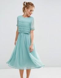 Платье миди для выпускного с укороченным кружевным лифом ASOS SALON