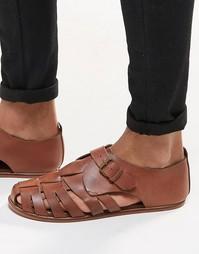 Светло-коричневые кожаные сандалии ASOS - Рыжий