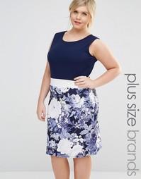 Платье-футляр с цветочным принтом на юбке Praslin Plus - Темно-синий