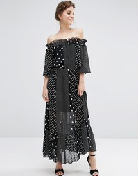 Платье макси в горошек с открытыми плечами ASOS - Мульти