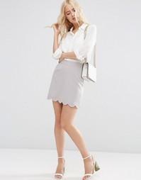 Мини юбка‑трапеция с фигурным краем ASOS - Серебряный