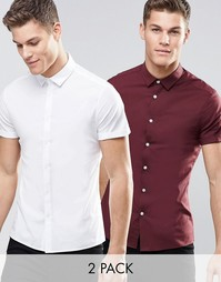2 облегающие рубашки (белая и бордовая) с короткими рукавами ASOS - СК