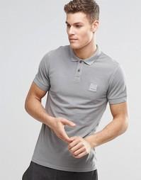 Серая футболка-поло слим с логотипом BOSS Orange - Серый
