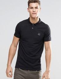Черная футболка-поло слим с логотипом BOSS Orange - Черный