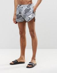 Короткие шорты для плавания с камуфляжным принтом Abuze London - Серый