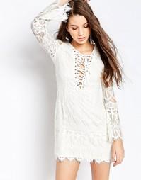 Кружевное платье-футляр Glamorous - Белый