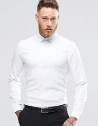 Строгая белая рубашка классического кроя из фактурной саржи ASOS