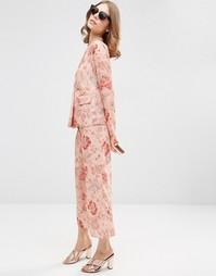 Атласные пижамные брюки с цветочным принтом ASOS Co-ord