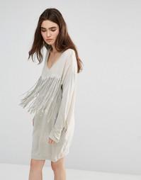Платье с бахромой спереди Religion Demonic - Выбеленный серый