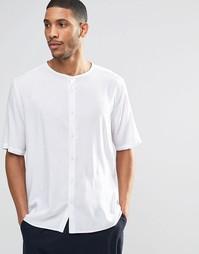 Рубашка без воротника с рукавами до локтя ASOS - Белый