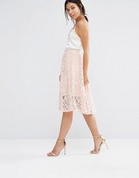Пышная кружевная юбка миди Boohoo - Телесный