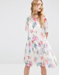 Свободное платье из органзы с цветочным принтом ASOS - Мульти
