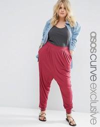 Трикотажные гаремные брюки ASOS CURVE - Ягодный