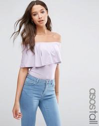 Боди с открытыми плечами и оборкой ASOS TALL - Dusky lilac