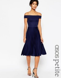 Платье миди со складками и открытыми плечами ASOS PETITE - Темно-синий