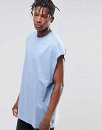 Oversize-футболка без рукавов с углубленной проймой и необработанными Asos