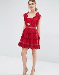 Кружевное платье с баской в три яруса Self Portrait - Малиново-красный