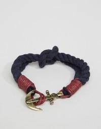 Темно-синий тканый браслет с якорем Icon Brand - Темно-синий