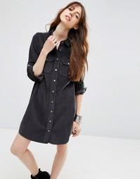 Серое вельветовое платье‑рубашка в стиле вестерн ASOS - Серый