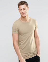 Удлиненная футболка с квадратной горловиной ASOS - Серебристо-бежевый