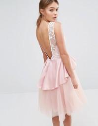 Платье миди с юбкой из тюля и оборкой на талии Chi Chi London - Mauve