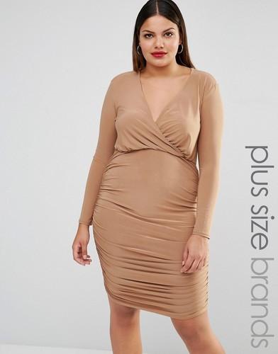 Платье с запахом и драпировкой Club L Plus - Рыжий