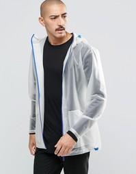 Прозрачная куртка с синей молнией Rains