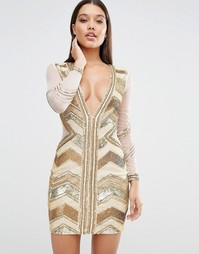 Декорированное платье мини с глубоким вырезом Missguided Premium