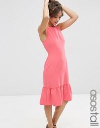 Структурированное платье с кромкой‑оборкой ASOS TALL - Розовый