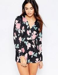Комбинезон с запахом Oh My Love - Тусклые розы в винтажном стиле