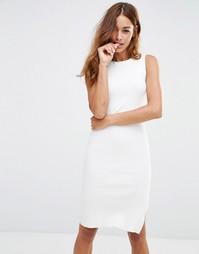 Трикотажное платье в рубчик с разрезом сбоку Noisy May - Снежно-белый