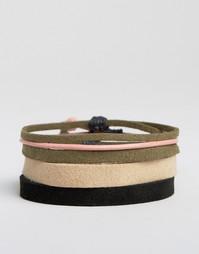 Набор браслетов из искусственной кожи (розовый, цвета хаки) ASOS