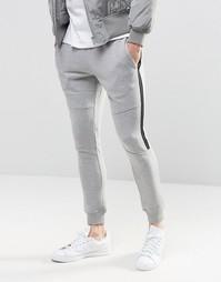Зауженные контрастные брюки с контрастной деталью Jack & Jones - Серый