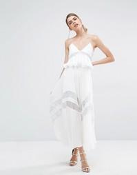 Плиссированное платье с кружевной отделкой Self Portrait Amelia