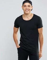 Черная удлиненная футболка с овальным вырезом ASOS - Черный