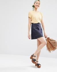 Джинсовая трапециевидная юбка на молнии Monki - Синий