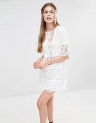 Платье мини с кружевной вставкой Endless Rose - Бежевый