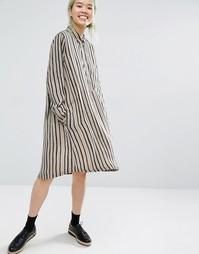 Платье-рубашка в полоску Monki Dannie - Черный в полоску