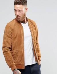 Светло-коричневая замшевая куртка-пилот ASOS - Рыжий