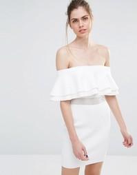 Вязаное платье мини в рубчик с сетчатой вставкой Endless Rose